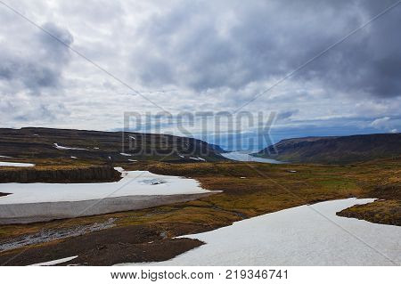View of misty coast in Westfjords of Iceland.
