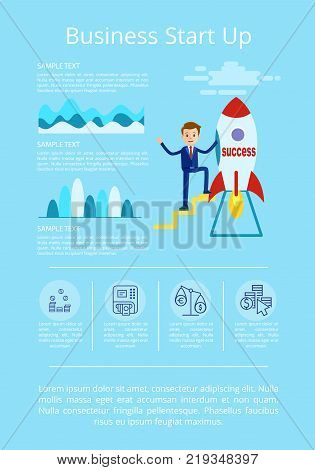 Business startup presentation with happy businessman on icon of rocket that represents success. Vector illustration with startup ideas on light blue background