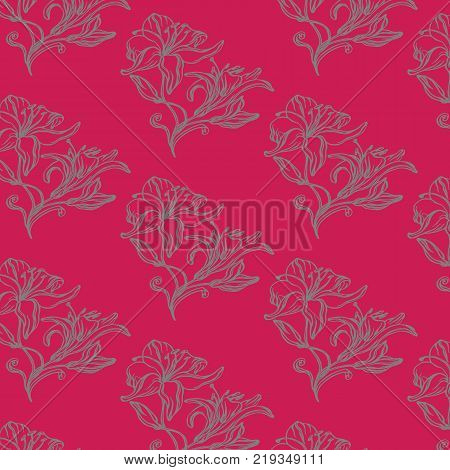 beautiful bright background with painted floral arrangements lilies
