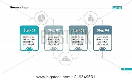 Four steps process chart slide template. Business data. Stage, diagram, design. Creative concept for infographic, presentation. Can be used for topics like management, workflow, finance.