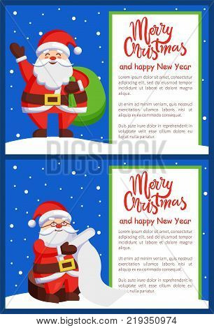 Merry Xmas and Happy New Year postcard Santa Claus reading wishlist sitting on wooden stump, Father Christmas with bag wave hand vector poster on snow