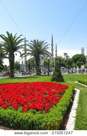 ISTANBUL TURKEY - MAY 20 2016 - Blue Mosque in Sultanahmet in Istanbul Turkey. More than 32 million tourists visit Turkey each year.