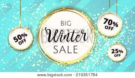 Premium luxury Winter Christmas Sale background for holiday promo banner on modern blue abstract background. Vector stock illustration