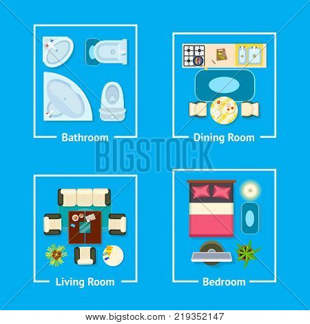 Apartment plan with furniture divided due to sections bathroom, dining room, living room and bedroom vector illustration of flat isolated on blue