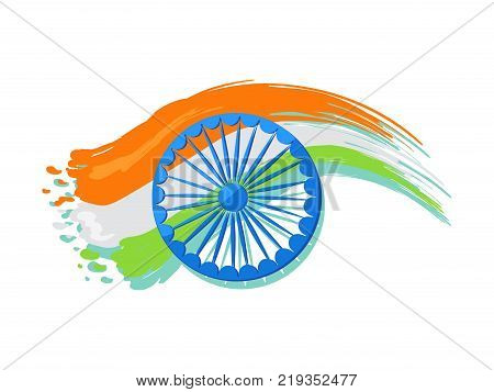 India poster logo design, 15 August Indian Independence Day greeting vector poster in graphic design with colorful national flag on background