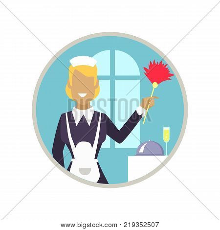 Smiling woman with cleaning staff working in neat hotel room. Vector illustration of icon with housekeeper isolated on white background