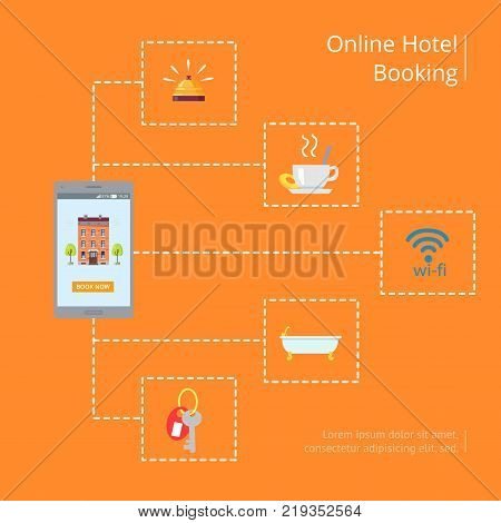Online hotel booking vector illustration in graphic design. Poster of signs presenting services provided in hotels and space for text