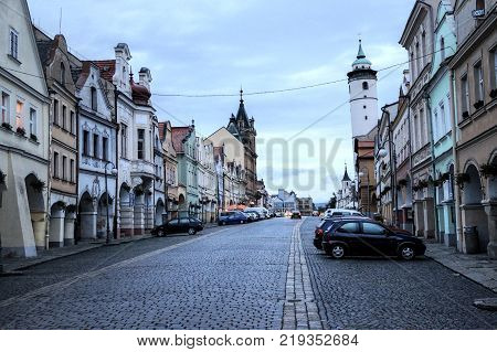 September 9, 2017 The Czech Republic and its border town with the German Domažlice its beauty and the small hystoric square