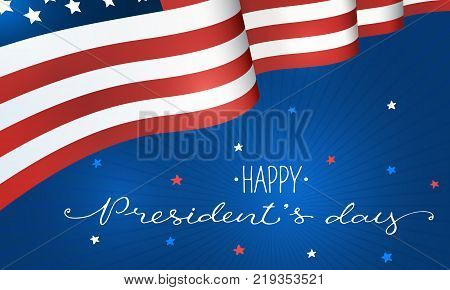 Happy Presidents Day. Horisontal flag of USA with text on blue background. USA President Day banner.