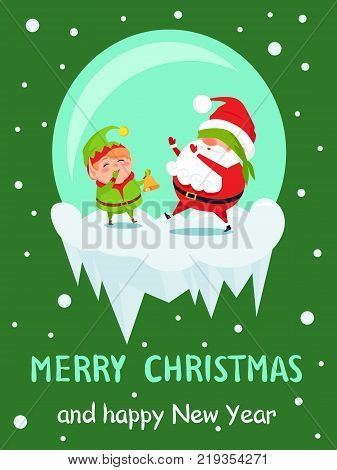 Postcard Merry Christmas Happy New Year Santa and Elf play hide-and-seek, covers eyes and rings in bell vector cartoon characters in icy ball vector