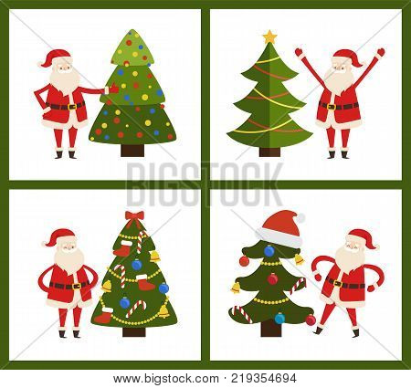 Santa Claus and Christmas tree set of four posters on white background. Vector illustration with fairytale character and decorated green bright spruce