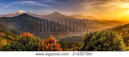 Sunrise over Annapurna. Annapurna is a collection of mountains in the Himalayas near Pokhara in Nepal