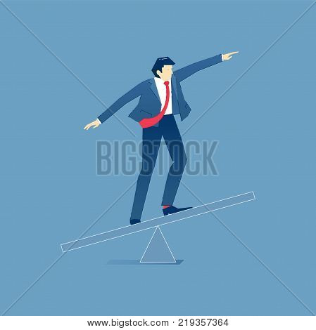 Vector illustration of businessman character balancing on a business seesaw. Vector concept for banners, infographics, landing pages of website or print design