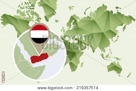 Infographic for Yemen detailed map of Yemen with flag. Vector Info graphic green map.