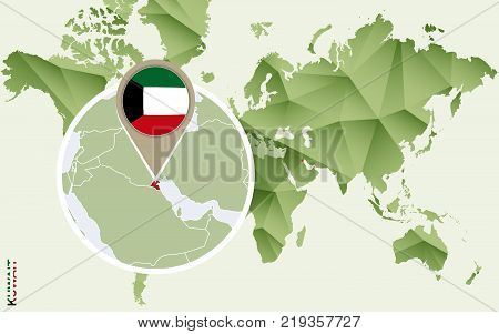 Infographic for Kuwait detailed map of Kuwait with flag. Vector Info graphic green map.