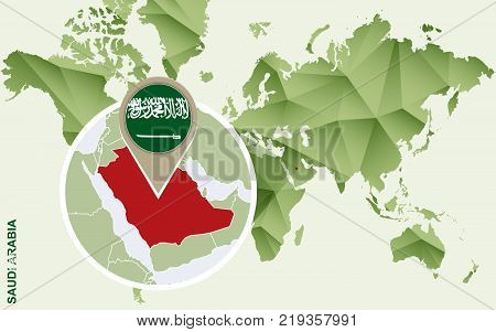 Infographic for Saudi Arabia detailed map of Saudi Arabia with flag. Vector Info graphic green map.