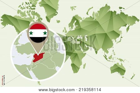 Infographic for Syria detailed map of Syria with flag. Vector Info graphic green map.