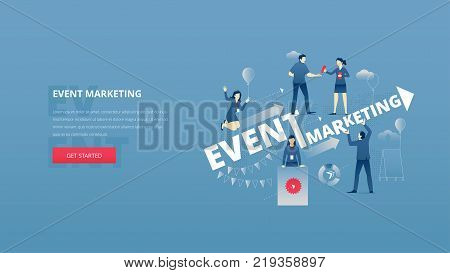 Vector illustrative hero banner of event marketing. Marketing hero website header with men and women business characters around words 'event marketing' over digital world map