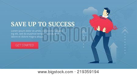 Vector banner template of businessman character in business suit holding a big red metaphoric piggy bank. Vector concept for internet banners, social media banners, headers of websites and more