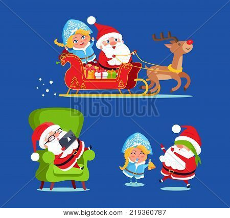 Santa and snow maiden icons isolated on dark blue background. Vector illustration with Santa and his friend sitting flying sledge with presents in boxes