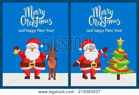 Merry Xmas and Happy New Year poster with Santa Claus decorating tree by color ball. Christmas Father and friendly reindeer greeting cards design