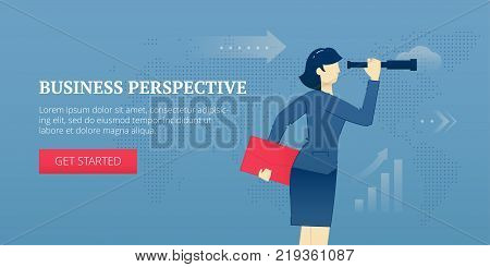 Vector banner template of business woman looking in a spy-glass to a business perspective. Vector concept for internet banners, social media banners, headers of websites and more