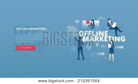 Vector illustrative hero banner of traditional offline marketing. Marketing hero website header with men and women business characters around words 'offline marketing' over digital world map