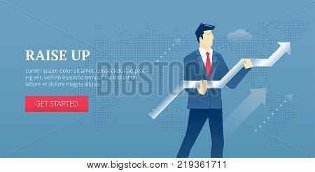 Vector banner template of businessman character in business suit raising an arrow up. Vector concept for internet banners, social media banners, headers of websites and more