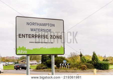 Northampton UK October 29, 2017: Northampton Waterside Enterprise Zone sign in Sixfields Retail Park.