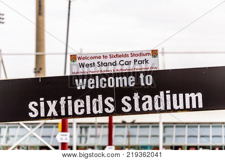 Northampton UK October 29, 2017: Northampton Cobblers Home Staium logo sign in Sixfields Retail Park.