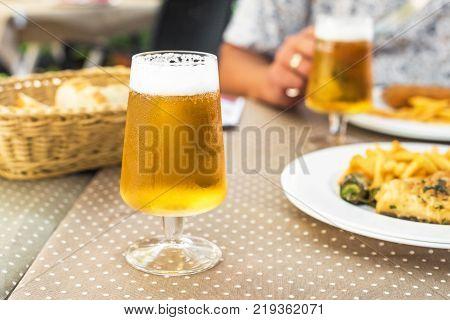Tasty seafood on plate on table close-up Siurana Catalunya Spain