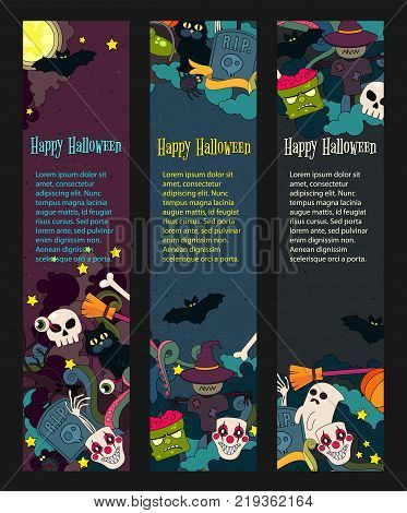 Happy Halloween hand drawn doodle style vector web banner for Halloween party