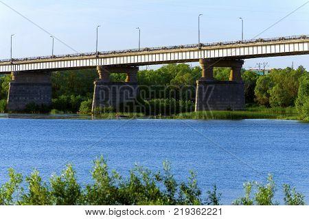 bridge in the city of Kolomna through the Oka River, Russia