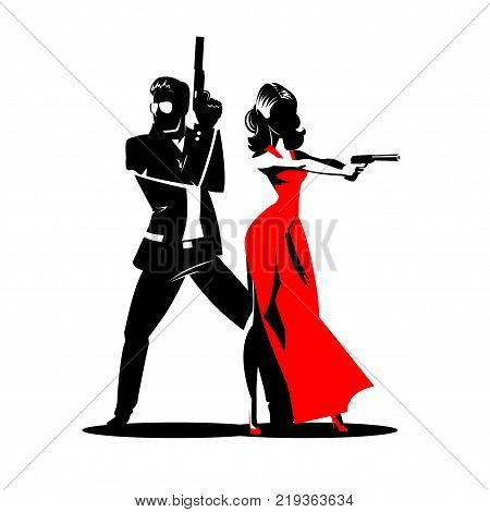Team of secret agents. Posing on camera. Sexual woman in red dress. Illustration