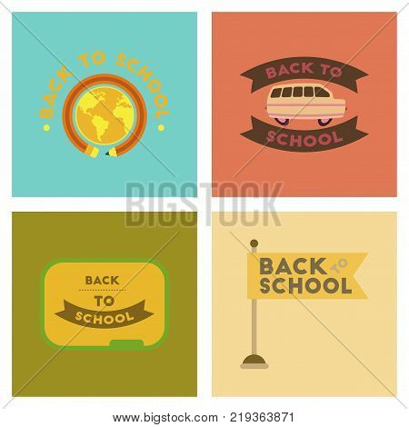 assembly of flat icons Back to school pencil Globe bus flag