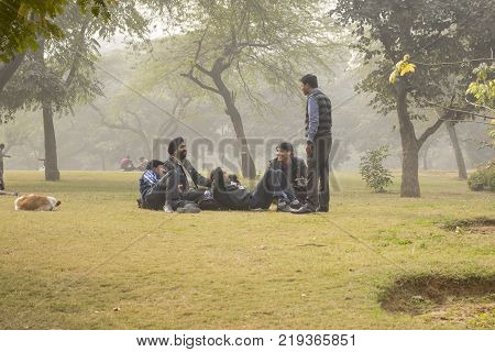 DELHI, INDIA - December 16, 2013: A group of Indian men in a park relaxes talking and smiling. Sitting and lying on the grass people spend their free time in the park in the eastern part of the Kailash area in Delhi