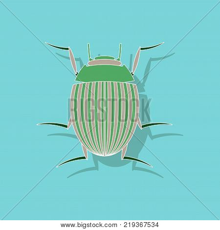 paper sticker on stylish background of Colorado beetle