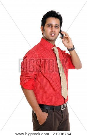 Indian young man talking in mobile phone