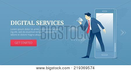 Vector banner template of businessman character in business suit steps out from the smartphone screen offering service on covered plate. Vector concept for internet banners, social media banners, headers of websites and more.
