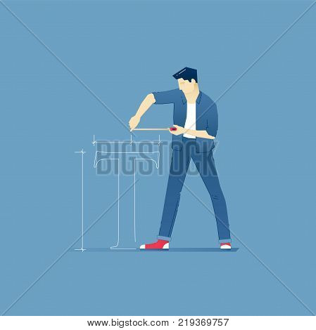 Vector illustration of male designer in red sneakers measuring T-symbol with a tape measure. Vector concept for banners, infographics or landing pages of website