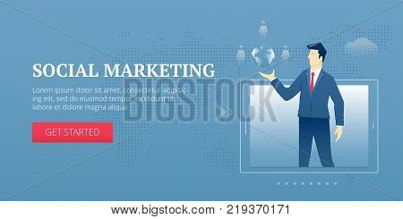 Vector banner template of businessman character in business suit with globe shape and people avatars protrudes from a tablet PC screen. Vector concept for internet banners, social media banners, headers of websites and more