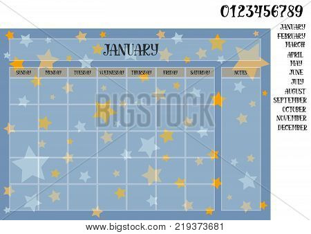 Monthly planner on a blue background with stars names of months with numerals