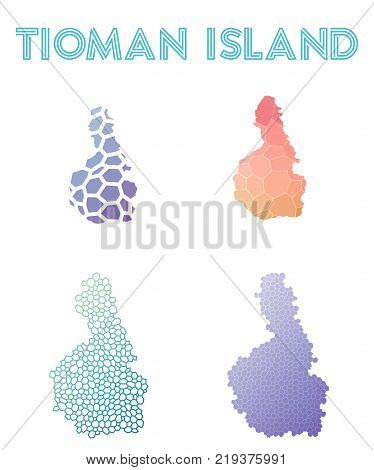 Tioman Island Polygonal Island Map. Mosaic Style Maps Collection. Bright Abstract Tessellation, Geom
