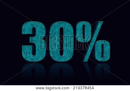 30% text 3D. 30 percent off. Discount 30%. 3D Illustration stock.