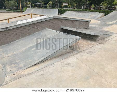 outdoor concrete skateboard ramp at thailand extreme sport