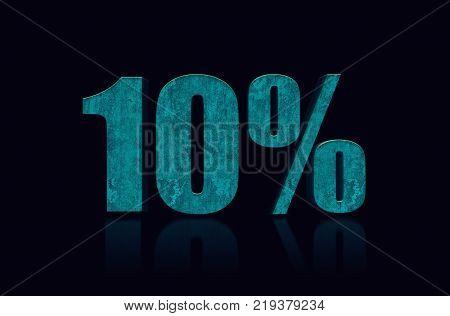 10% text 3D. 10 percent off. Discount 10%. 3D Illustration stock.
