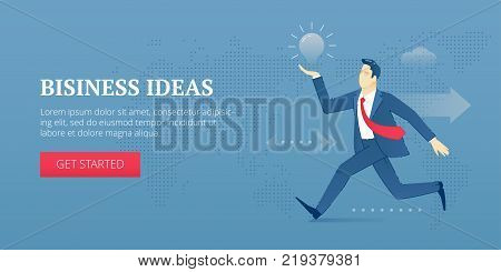 Vector banner template of businessman in business suit and necktie running with a business idea light bulb. Vector concept for internet banners, social media banners, headers of websites and more