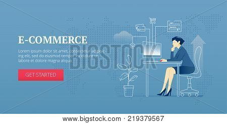 Vector banner template of business woman in a business suit sitting at the computer in the office and doing e-commerce. Vector concept for internet banners, social media banners, headers of websites and more
