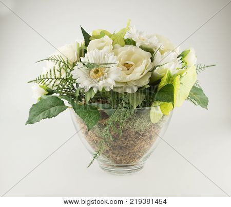 Bouquet of beautiful artificial flowers isolated on white background