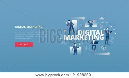 Vector illustrative hero banner of digital marketing. Marketing hero website header with men and women business characters around words 'digital marketing' over digital world map